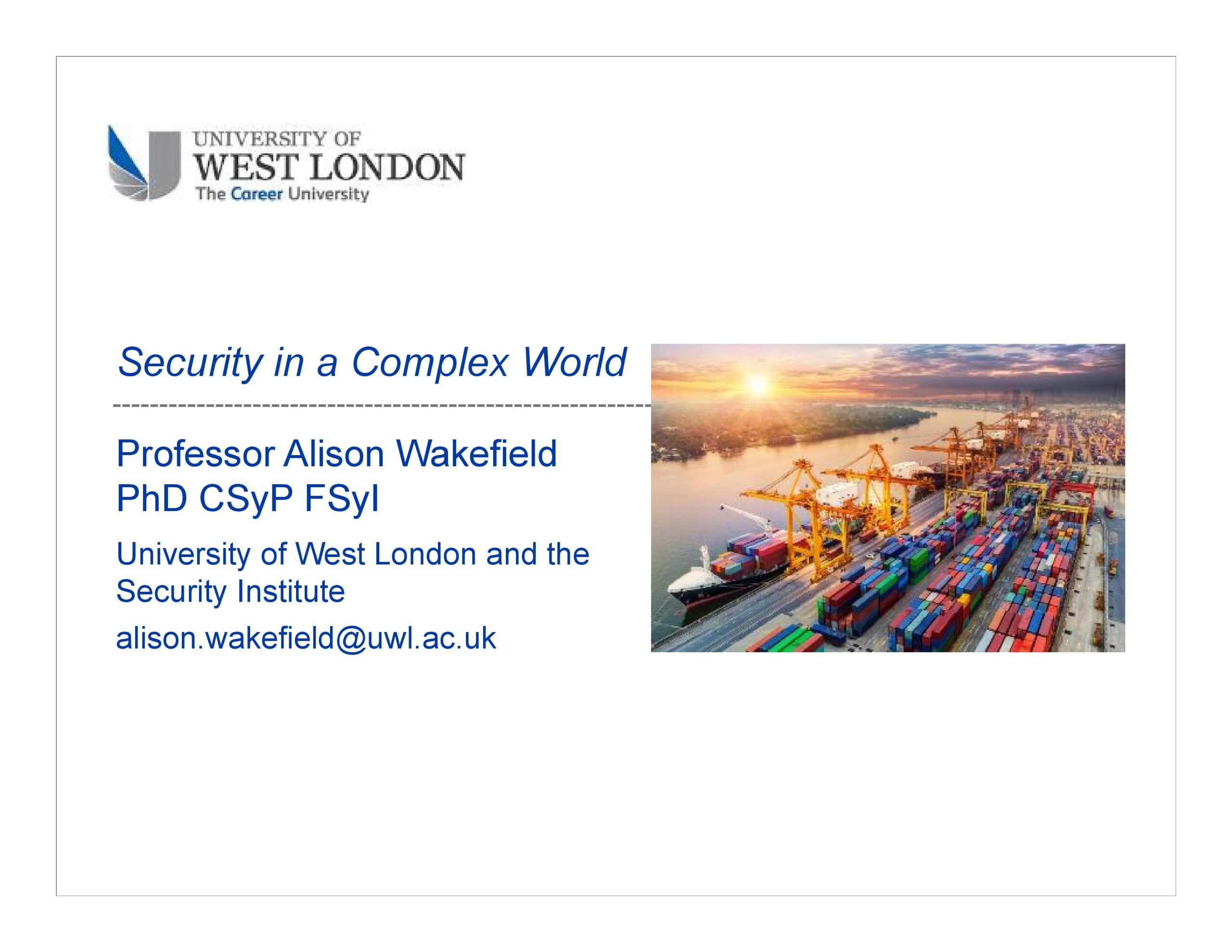 Security in a Complex World - front page